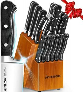 Knife Set, 15Pcs Black Pakkawood Handle Knife Block Set with Red Elm Wooden Block, Chef Knife Set and Kitchen Knives Sharpener and Scissors German Stainless...