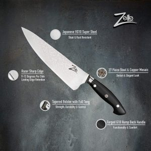 Zelite Infinity Chef Knife 8 Inch - Executive-Plus Series - Japanese AUS-10 Super Steel 45-Layer Damascus